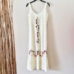 Nanette Lepore Embroidered Lace Trim Midi Dress
